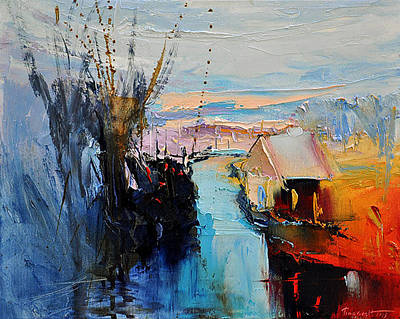 Painting - House Over The River by David Figielek