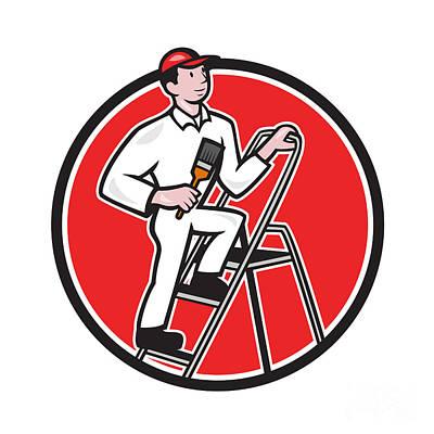 House Painter Digital Art - House Painter Paintbrush On Ladder Cartoon by Aloysius Patrimonio