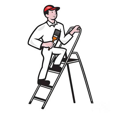 Tradesman Digital Art - House Painter Standing On Ladder Cartoon by Aloysius Patrimonio