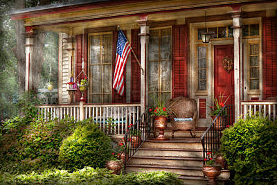 House - Porch - Belvidere Nj - A Classic American Home  Art Print by Mike Savad