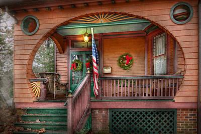 Photograph - House - Porch - Metuchen Nj - That Yule Tide Spirit by Mike Savad