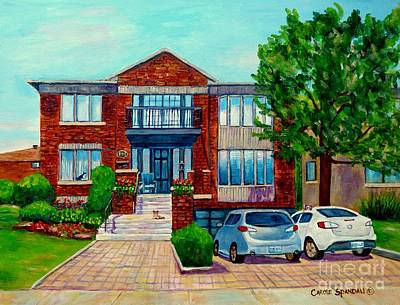 Montreal Streets Painting - House Portrait-house  Art-commissioned  Montreal Paintings-carole Spandau by Carole Spandau