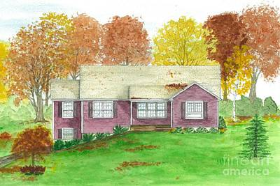 Painting - House Rendition In Autumn by Michelle Welles