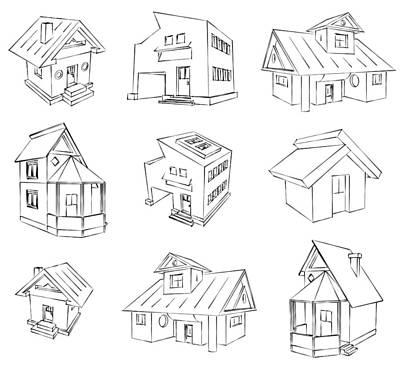 House Sketch Set Art Print by Ioan Panaite