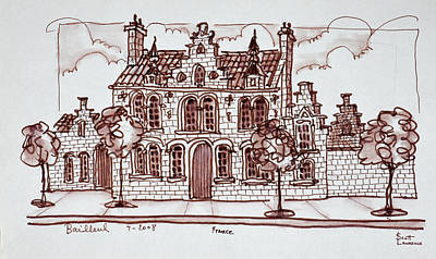 Pen And Ink Drawing Photograph - House Styled In The Flemish by Richard Lawrence