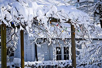 Priska Wettstein Pink Hues - House under snow 2 by Elena Elisseeva