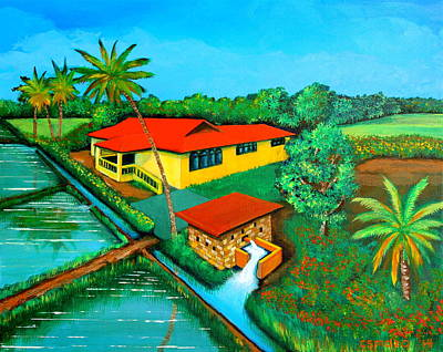 Filipino Artist Painting - House With A Water Pump by Cyril Maza