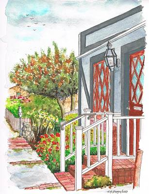 Laguna Beach Painting - House With A White Handrail In Laguna Beach - California by Carlos G Groppa