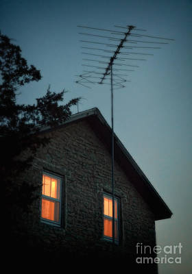 Photograph - House With Antenna At Night by Jill Battaglia