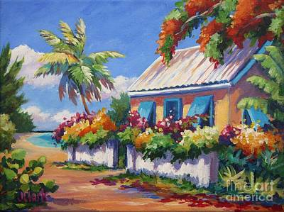 Caribbean House Painting - House With Blue Shutters by John Clark
