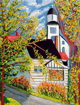 Nova Scotia Wall Art - Painting - House With Church Badeck by Patricia Eyre