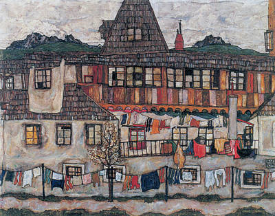 Laundry Painting - House With Drying Laundry by Celestial Images
