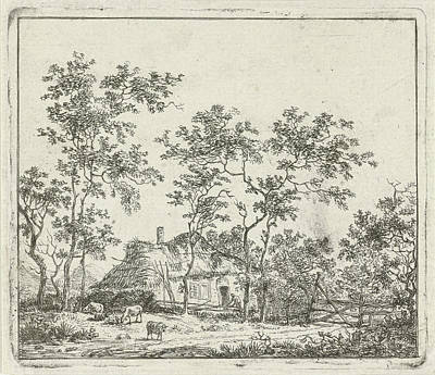 Fence Drawing - House With Four Sheep, Hermanus Fock by Hermanus Fock