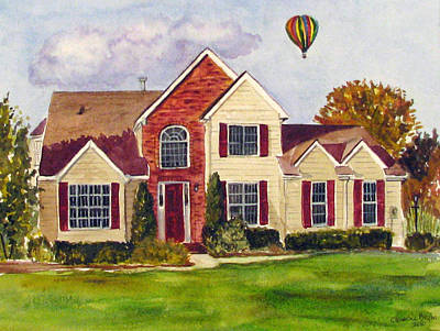 Painting - House With Hot Air Ballon by Clara Sue Beym