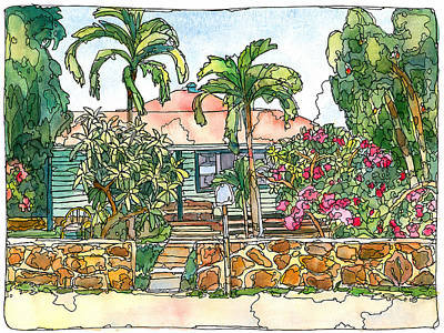 Haleiwa Painting - House With Lava Rock Wall by Stacy Vosberg