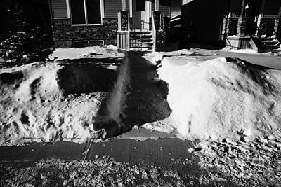 house with path cleared of snow leading to front porch Saskatoon Saskatchewan  Art Print by Joe Fox
