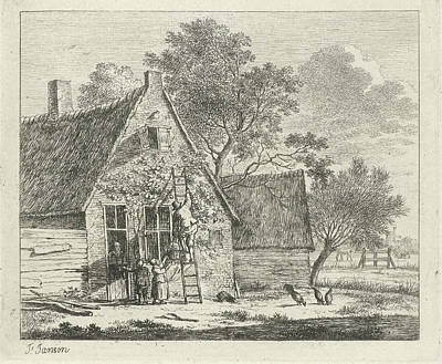 Grapes Drawing - House With Yard, Johannes Janson by Johannes Janson