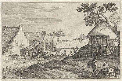 Barnyard Drawing - House With Yard, Print Maker Claes Jansz by Claes Jansz. Visscher Ii And Abraham Bloemaert And Bo?tius Adamsz. Bolswert