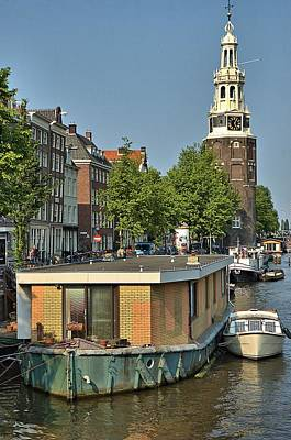 Photograph - Houseboat And Tower Amsterdam by Steven Richman