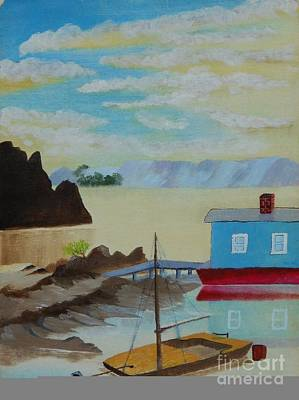 Painting - Houseboat Harbor by Jessi and James Gault