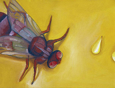 Housefly Wall Art - Painting - Housefly With Sesame Seeds by Laura Dozor