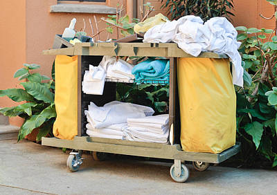 Dirty Linen Photograph - Housekeeping Trolley by Tom Gowanlock