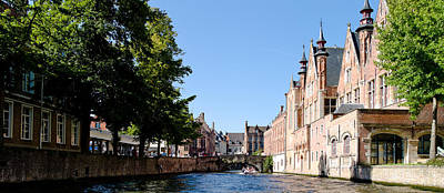 Belgium Photograph - Houses Along A Canal, Bruges, West by Panoramic Images