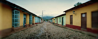 Trinidad House Photograph - Houses Along Cobblestone Street by Panoramic Images