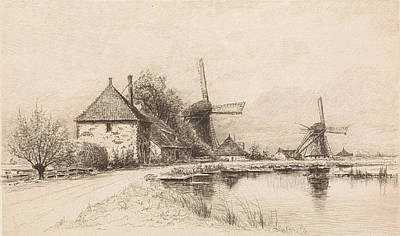 Stark Drawing - Houses And Two Windmills Along A River, Elias Stark by Elias Stark