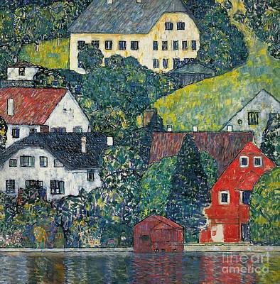 Houses At Unterach On The Attersee Art Print