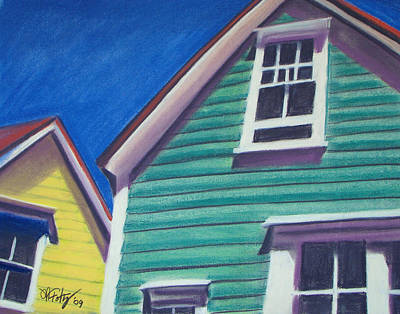 Houses Green And Yellow Art Print
