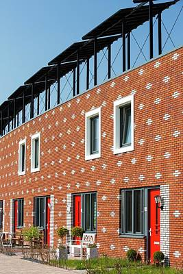 Houses In Almere With Solar Pv Panels Print by Ashley Cooper