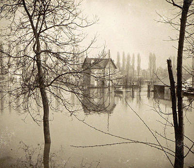 Houses In Flooded Suburb Of Paris Seen Through Bare Trees Art Print