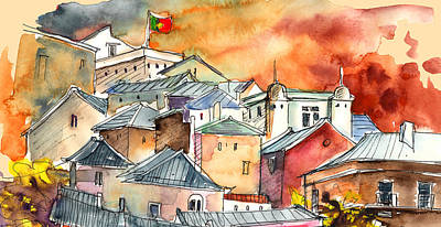 Portugal Art Painting - Houses In Palmela In Portugal by Miki De Goodaboom