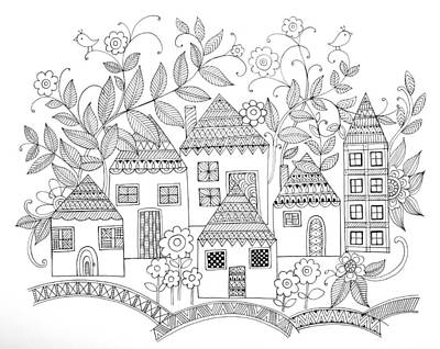 Fun Drawing - Houses by Neeti Goswami