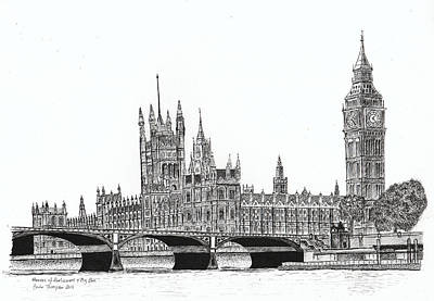 Big Ben Drawing - Houses Of Parliament And Big Ben In London by Brian Thompson