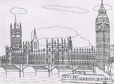 Big Ben Drawing - Houses Of Parliament by Bav Patel