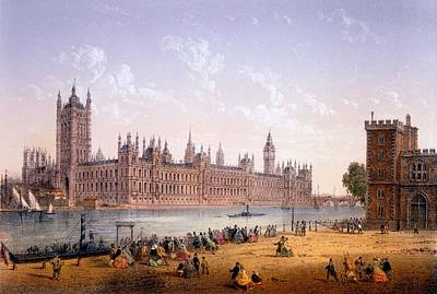Charles River Drawing - Houses Of Parliament From The South by Achille-Louis Martinet