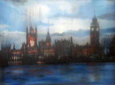 London Skyline Painting - Houses Of Parliament by Glen Heppner
