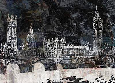 Tower Of London Mixed Media - Houses Of Parliament by Lauren Caldwell
