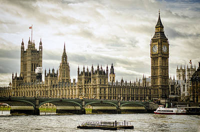 Tower Bridge London Photograph - Houses Of Parliament On The Thames by Heather Applegate