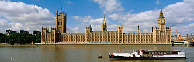 Houses Of Parliament, Water And Boat Art Print