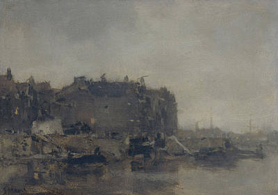Houses On The Prins Hendrikkade Amsterdam On A Foggy Day Art Print by Litz Collection