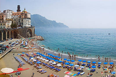 Houses On The Sea Coast, Amalfi Coast Art Print by Panoramic Images