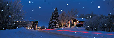 Snow Falling Photograph - Houses Snowfall Nh Usa by Panoramic Images