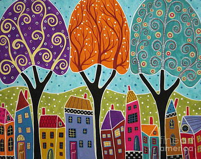 Primitive Folk Art Painting - Houses Trees Folk Art Abstract  by Karla Gerard