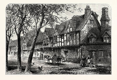 Houses Under The Castle, Warwick, Uk, Britain Print by English School