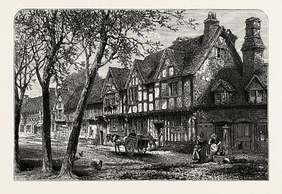 Houses, Under, The Castle, Warwick, Uk, Great Britain Print by English School