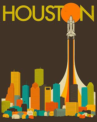 Nasa Digital Art - Houston Skyline by Jazzberry Blue