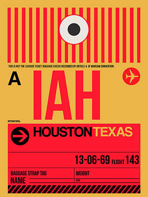 Town Mixed Media - Houston Airport Poster 1 by Naxart Studio